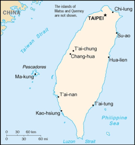 an introduction to taiwan an island located about 100 miles from china 1 location and size taiwan is an island in the pacific ocean, approximately 161 kilometers (100 miles) from the southeastern coast of china.
